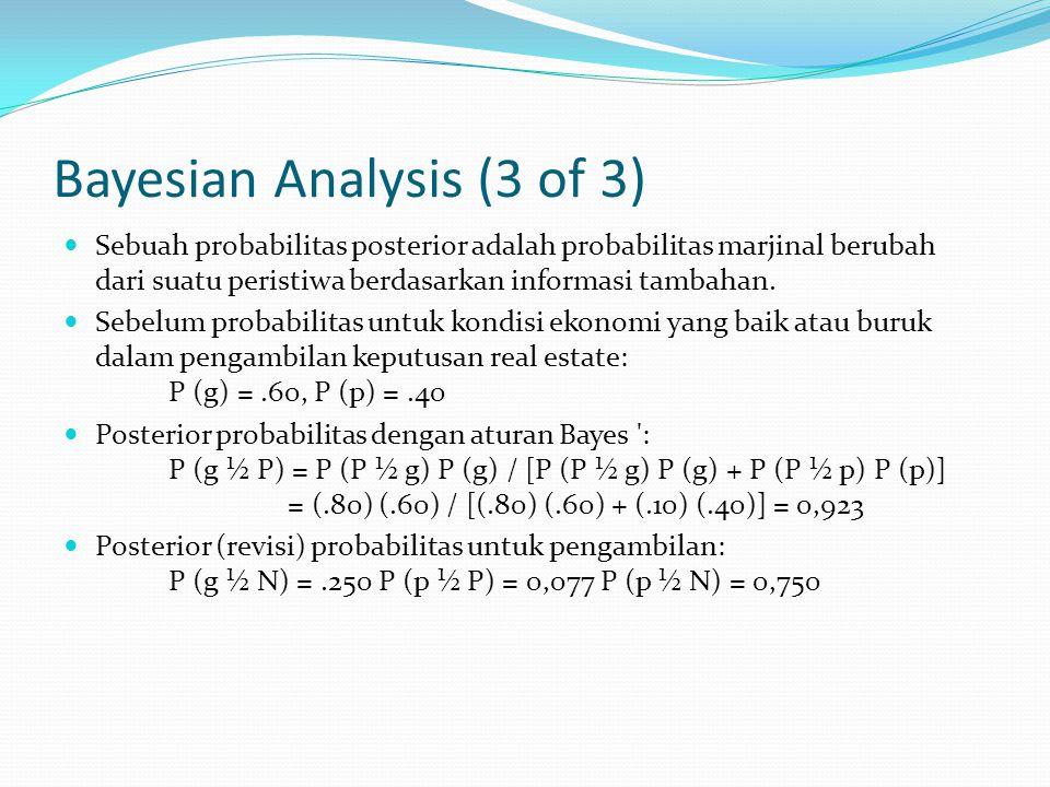 Bayesian Analysis (3 of 3) Sebuah probabilitas posterior adalah probabilitas marjinal berubah dari suatu peristiwa berdasarkan informasi tambahan.