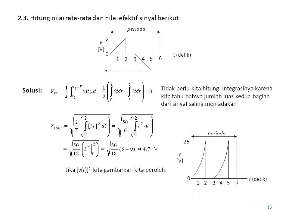 15 2.3. Hitung nilai rata-rata dan nilai efektif sinyal berikut 5 -5 0 t (detik) v [V] perioda 123 45 6 Solusi: Tidak perlu kita hitung integrasinya k