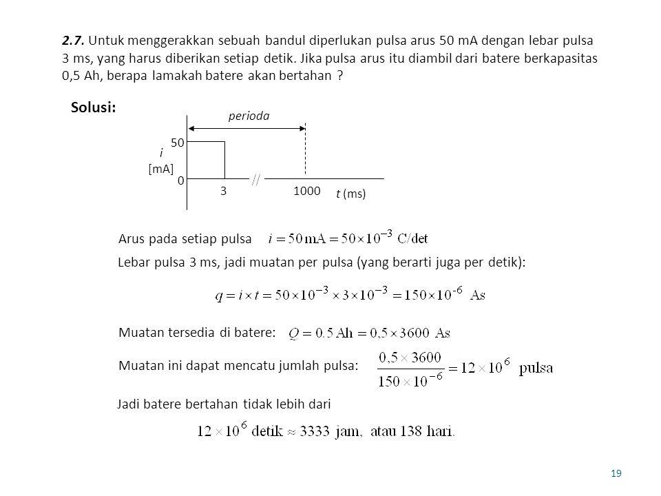 19 2.7. Untuk menggerakkan sebuah bandul diperlukan pulsa arus 50 mA dengan lebar pulsa 3 ms, yang harus diberikan setiap detik. Jika pulsa arus itu d