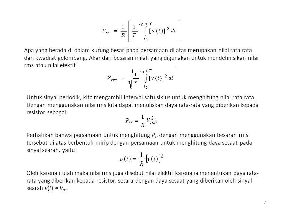 7 Apa yang berada di dalam kurung besar pada persamaan di atas merupakan nilai rata-rata dari kwadrat gelombang. Akar dari besaran inilah yang digunak