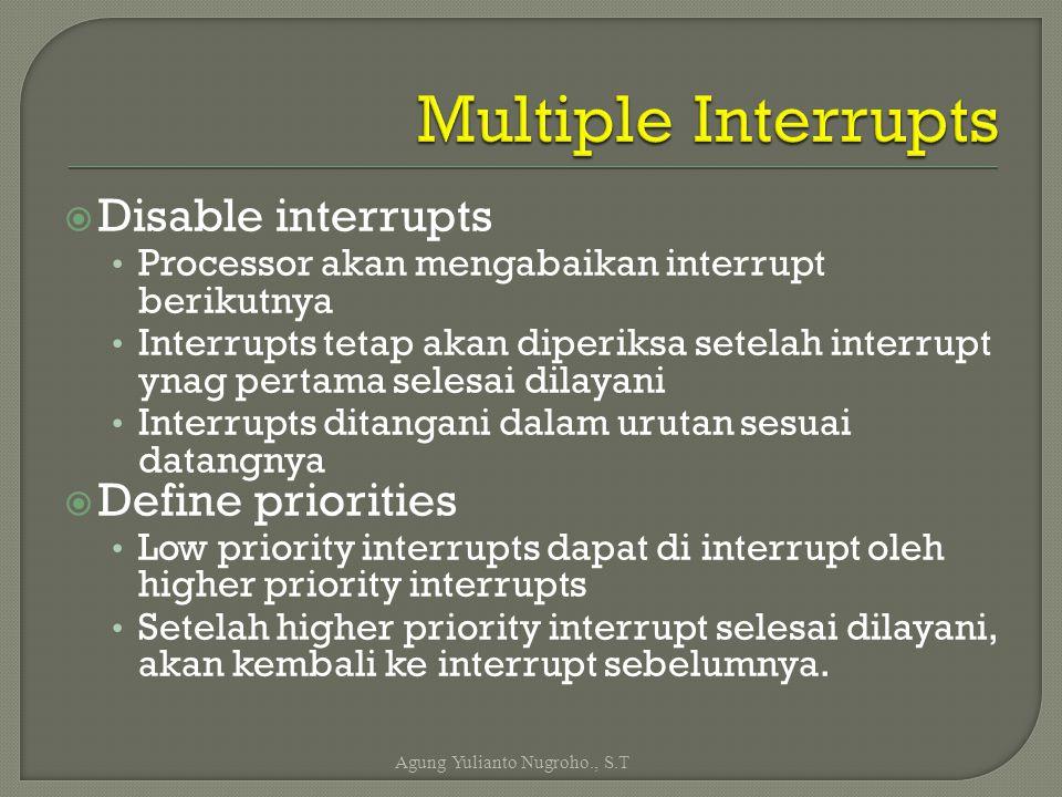  Disable interrupts Processor akan mengabaikan interrupt berikutnya Interrupts tetap akan diperiksa setelah interrupt ynag pertama selesai dilayani I