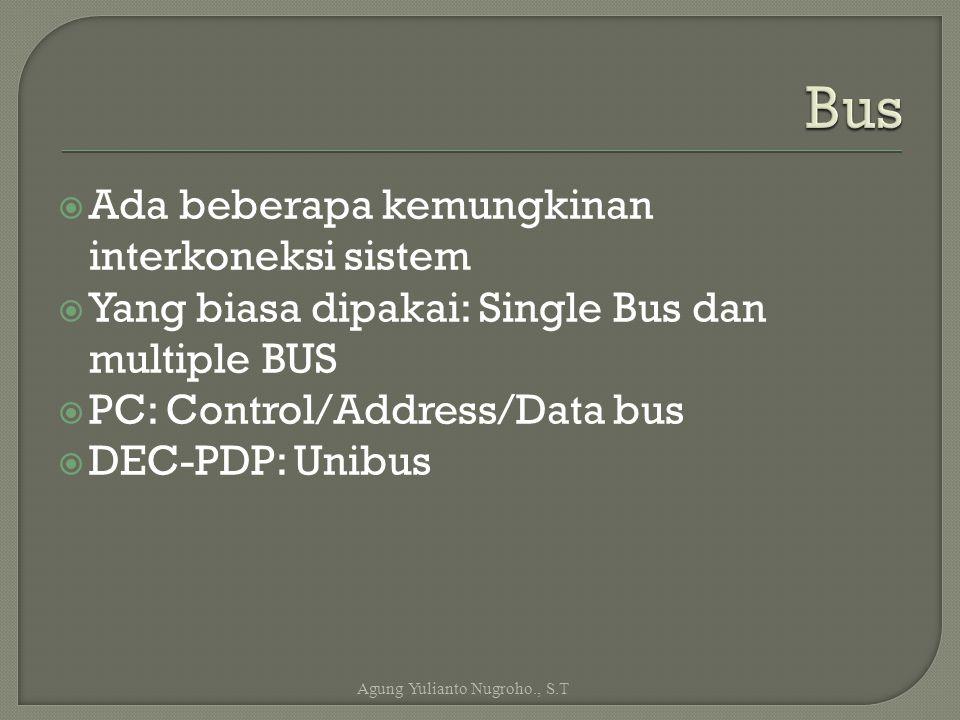  Ada beberapa kemungkinan interkoneksi sistem  Yang biasa dipakai: Single Bus dan multiple BUS  PC: Control/Address/Data bus  DEC-PDP: Unibus Agun
