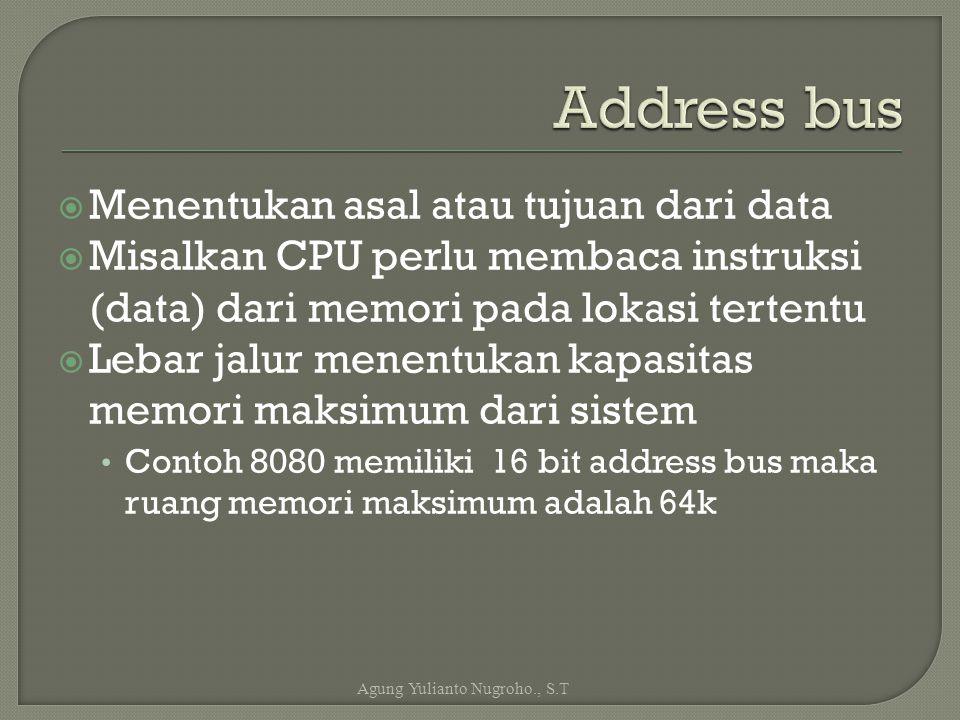 Menentukan asal atau tujuan dari data  Misalkan CPU perlu membaca instruksi (data) dari memori pada lokasi tertentu  Lebar jalur menentukan kapasi