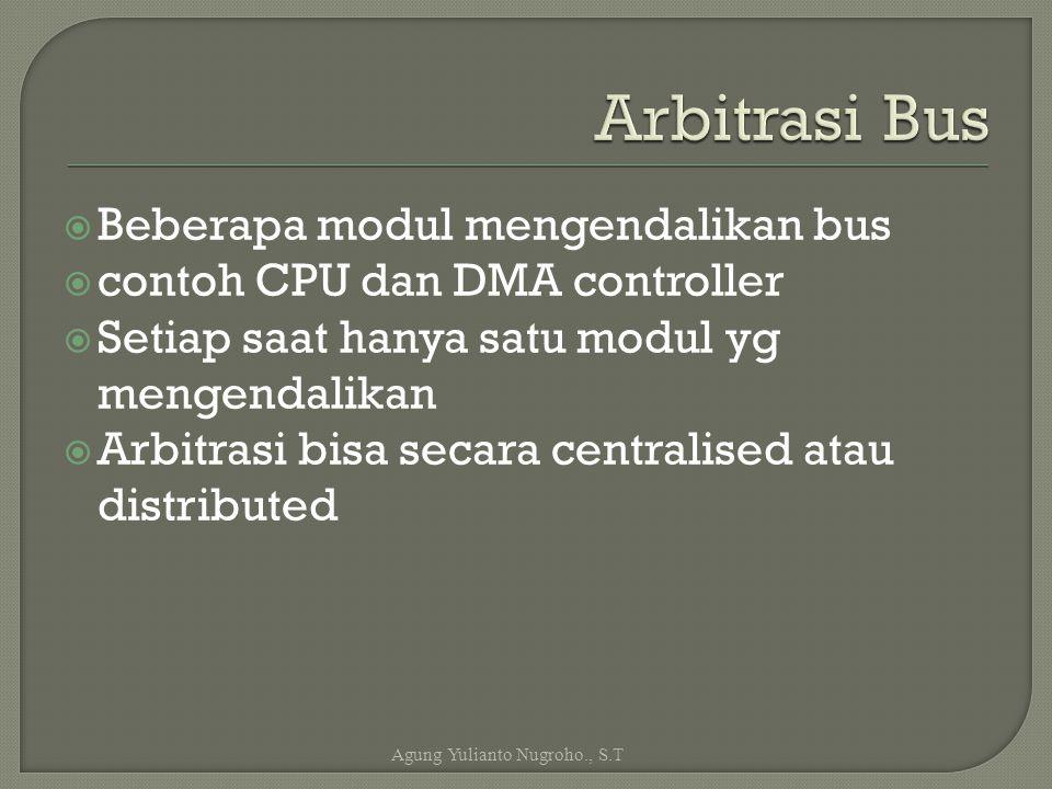  Beberapa modul mengendalikan bus  contoh CPU dan DMA controller  Setiap saat hanya satu modul yg mengendalikan  Arbitrasi bisa secara centralised