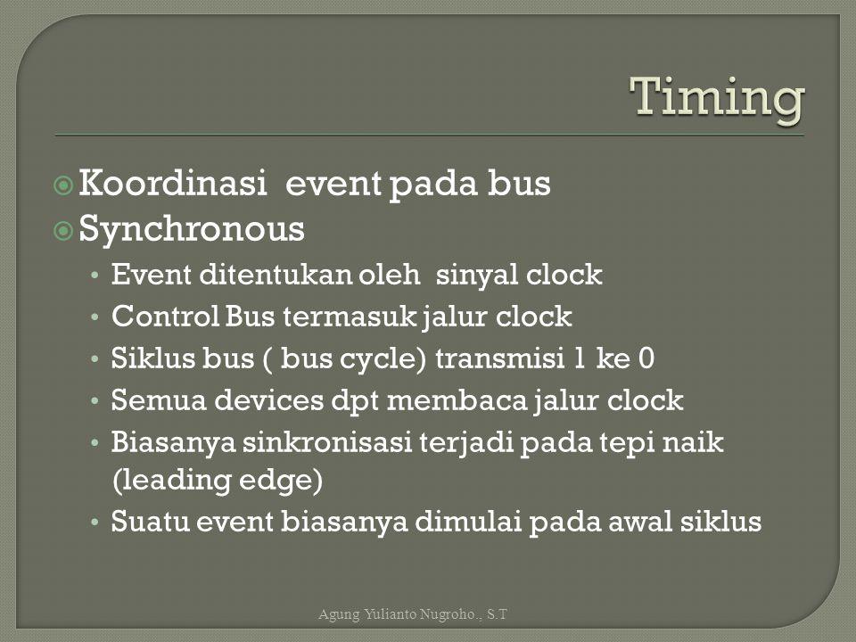  Koordinasi event pada bus  Synchronous Event ditentukan oleh sinyal clock Control Bus termasuk jalur clock Siklus bus ( bus cycle) transmisi 1 ke 0