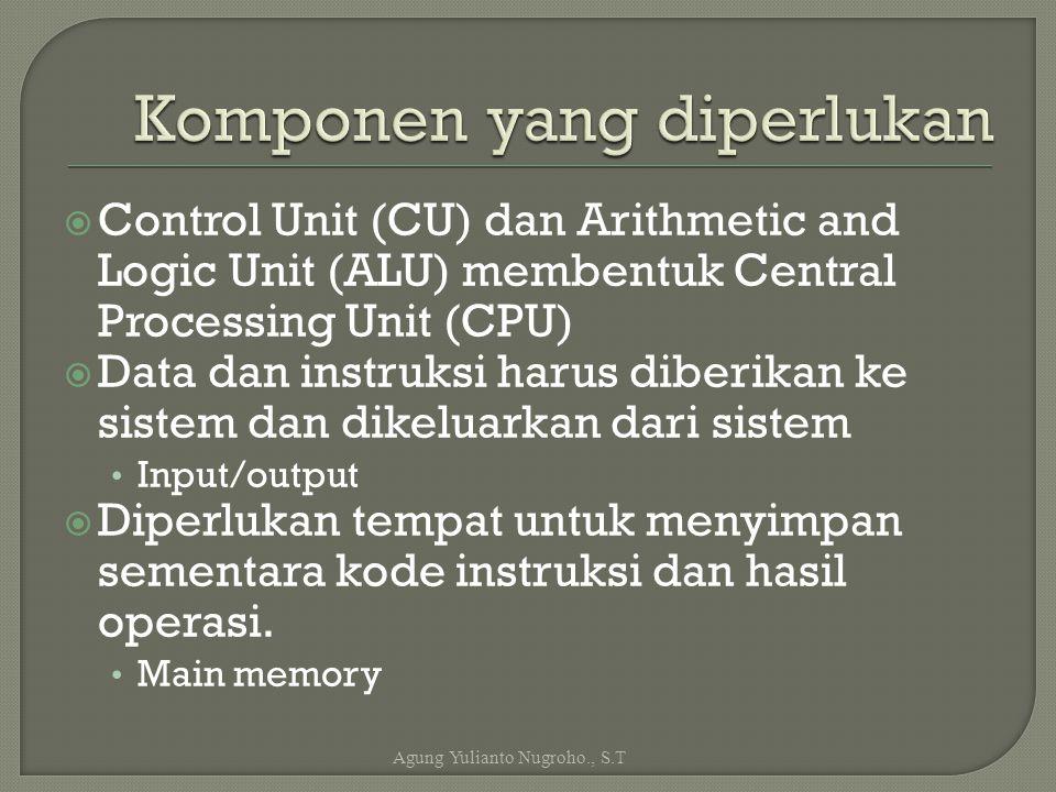  Control Unit (CU) dan Arithmetic and Logic Unit (ALU) membentuk Central Processing Unit (CPU)  Data dan instruksi harus diberikan ke sistem dan dik