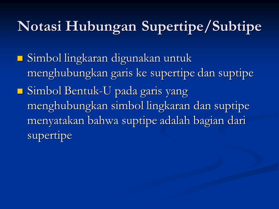 Notasi Hubungan Supertipe/Subtipe Simbol lingkaran digunakan untuk menghubungkan garis ke supertipe dan suptipe Simbol lingkaran digunakan untuk mengh