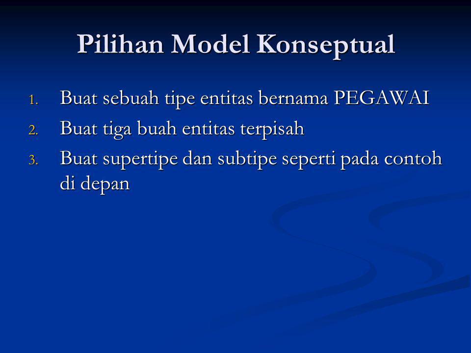 Pilihan Model Konseptual 1. Buat sebuah tipe entitas bernama PEGAWAI 2. Buat tiga buah entitas terpisah 3. Buat supertipe dan subtipe seperti pada con