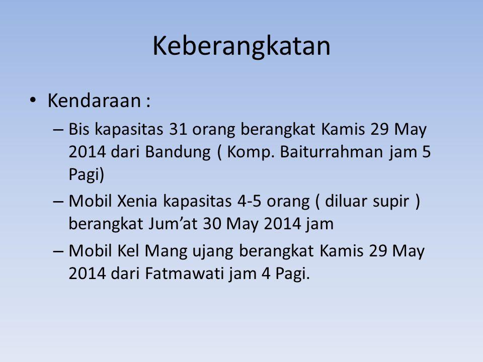 Keberangkatan Kendaraan : – Bis kapasitas 31 orang berangkat Kamis 29 May 2014 dari Bandung ( Komp.