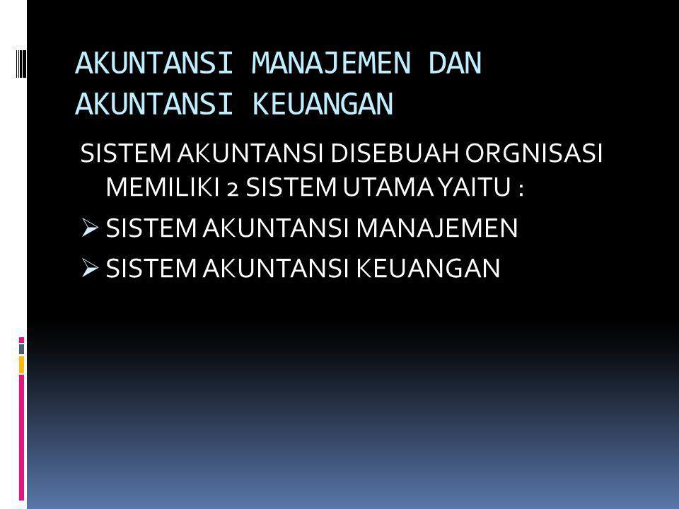 AKUNTANSI MANAJEMEN DAN AKUNTANSI KEUANGAN SISTEM AKUNTANSI DISEBUAH ORGNISASI MEMILIKI 2 SISTEM UTAMA YAITU :  SISTEM AKUNTANSI MANAJEMEN  SISTEM A