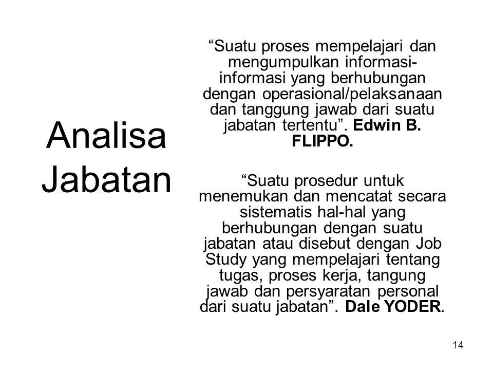 """14 Analisa Jabatan """"Suatu proses mempelajari dan mengumpulkan informasi- informasi yang berhubungan dengan operasional/pelaksanaan dan tanggung jawab"""