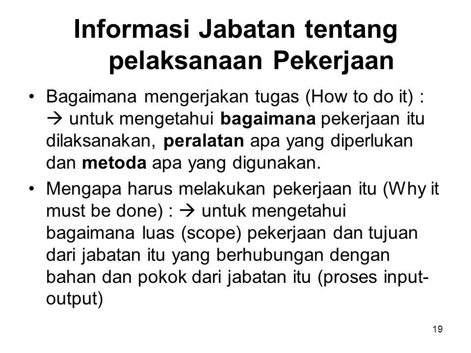 19 Informasi Jabatan tentang pelaksanaan Pekerjaan Bagaimana mengerjakan tugas (How to do it) :  untuk mengetahui bagaimana pekerjaan itu dilaksanaka