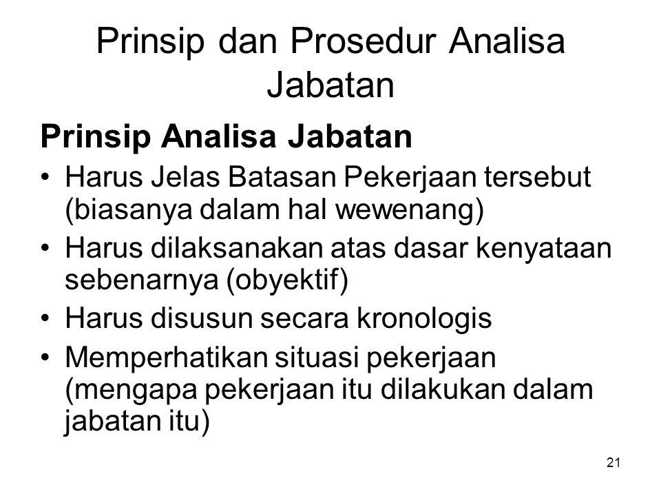 21 Prinsip dan Prosedur Analisa Jabatan Prinsip Analisa Jabatan Harus Jelas Batasan Pekerjaan tersebut (biasanya dalam hal wewenang) Harus dilaksanaka
