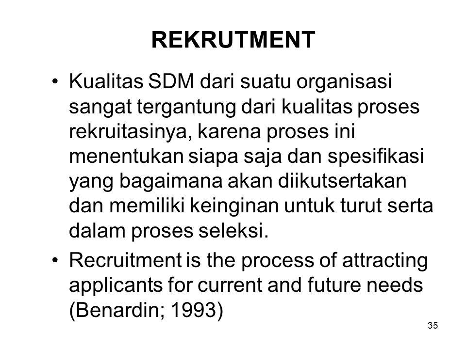 35 REKRUTMENT Kualitas SDM dari suatu organisasi sangat tergantung dari kualitas proses rekruitasinya, karena proses ini menentukan siapa saja dan spe