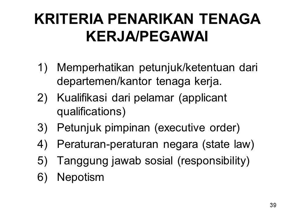 39 KRITERIA PENARIKAN TENAGA KERJA/PEGAWAI 1)Memperhatikan petunjuk/ketentuan dari departemen/kantor tenaga kerja. 2)Kualifikasi dari pelamar (applica