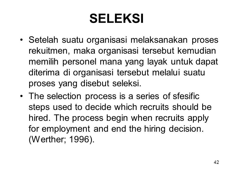 42 SELEKSI Setelah suatu organisasi melaksanakan proses rekuitmen, maka organisasi tersebut kemudian memilih personel mana yang layak untuk dapat dite