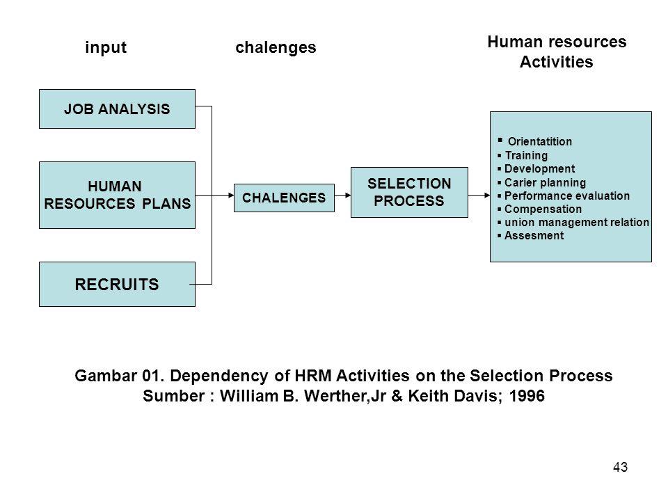 43 JOB ANALYSIS HUMAN RESOURCES PLANS RECRUITS CHALENGES SELECTION PROCESS  Orientatition  Training  Development  Carier planning  Performance ev