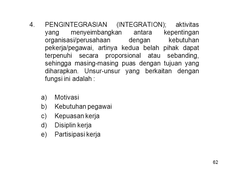 62 4.PENGINTEGRASIAN (INTEGRATION); aktivitas yang menyeimbangkan antara kepentingan organisasi/perusahaan dengan kebutuhan pekerja/pegawai, artinya k