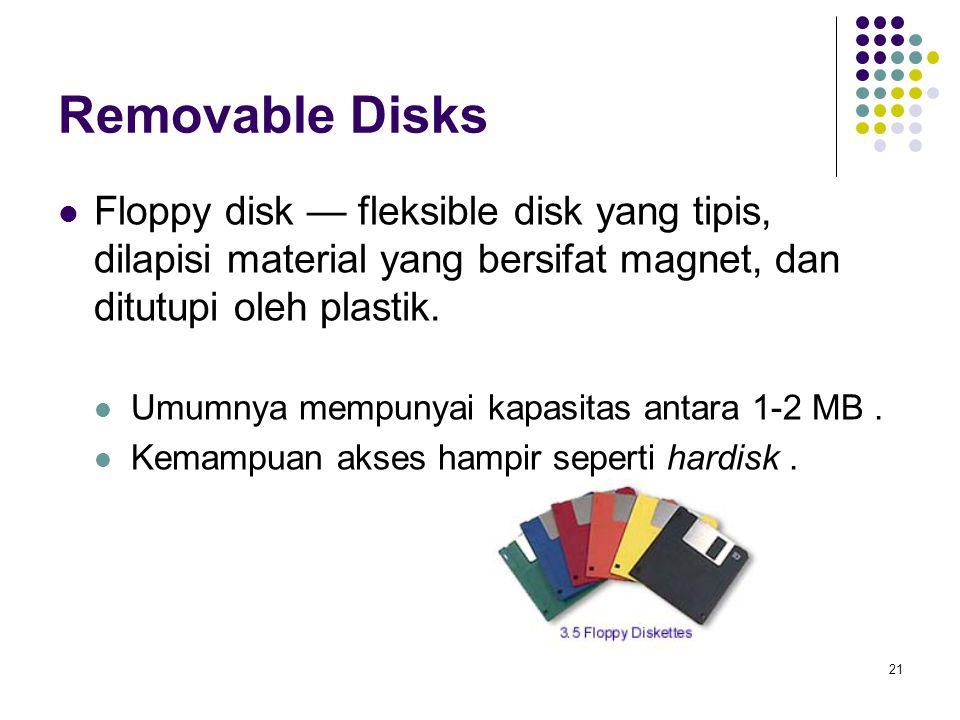 22 Removable Disks (Cont.) Magneto-optic disk- Piringan optic yang keras dilapisi oleh material yang bersifat magnet, kemudian dilapisi pelindung dari plastik atau kaca yang berfungsi untuk menahan head yang hancur.