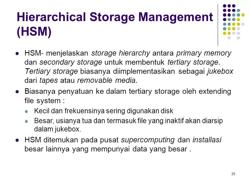 30 Kecepatan Dua aspek terkait dengan kecepatan tertiary storage adalah bandwidth dan latency.