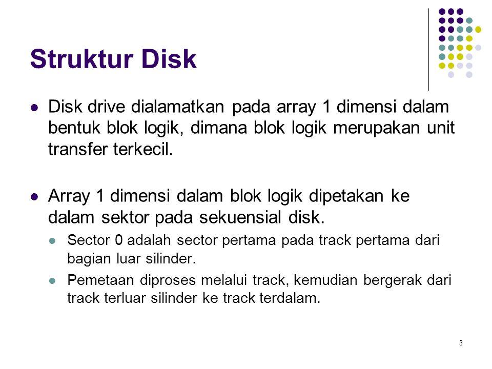 4 Penjadualan Disk Sistem operasi bertanggung jawab dalam hal efisiensi hardware – untuk disk drive berarti dalam hal kecepatan akses dan bandwith disk.