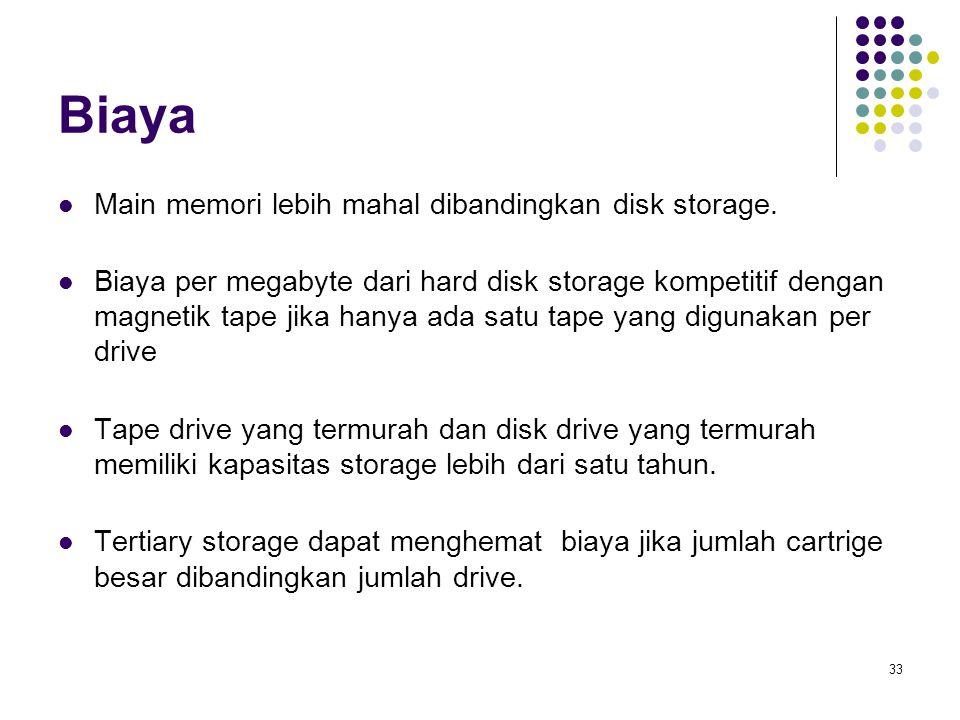 33 Biaya Main memori lebih mahal dibandingkan disk storage. Biaya per megabyte dari hard disk storage kompetitif dengan magnetik tape jika hanya ada s