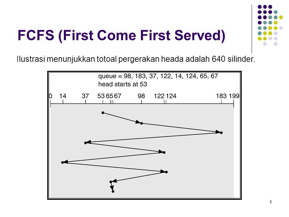7 SSTF (Shortest Seek Time First) Permintaan berdasarkan waktu cari minimum dari posisi current head.