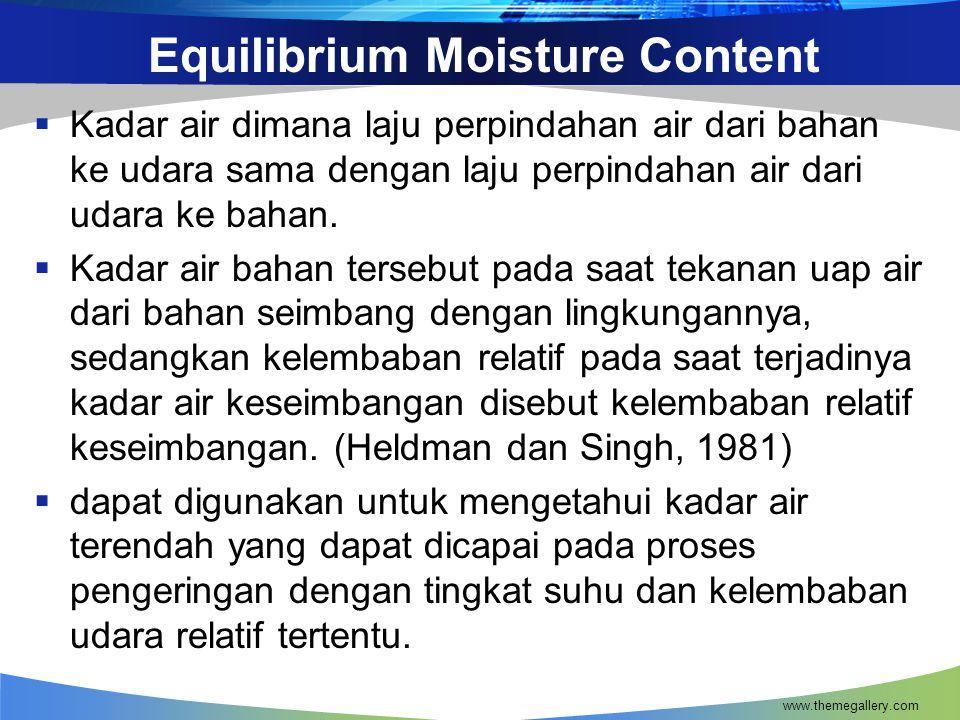 Equilibrium Moisture Content  Kadar air dimana laju perpindahan air dari bahan ke udara sama dengan laju perpindahan air dari udara ke bahan.  Kadar