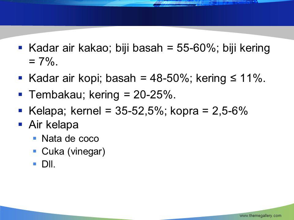  Kadar air kakao; biji basah = 55-60%; biji kering = 7%.  Kadar air kopi; basah = 48-50%; kering ≤ 11%.  Tembakau; kering = 20-25%.  Kelapa; kerne