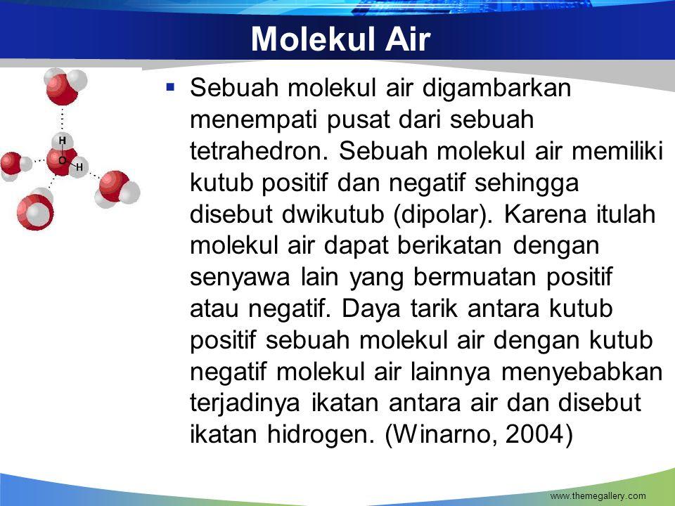 Molekul Air  Sebuah molekul air digambarkan menempati pusat dari sebuah tetrahedron. Sebuah molekul air memiliki kutub positif dan negatif sehingga d