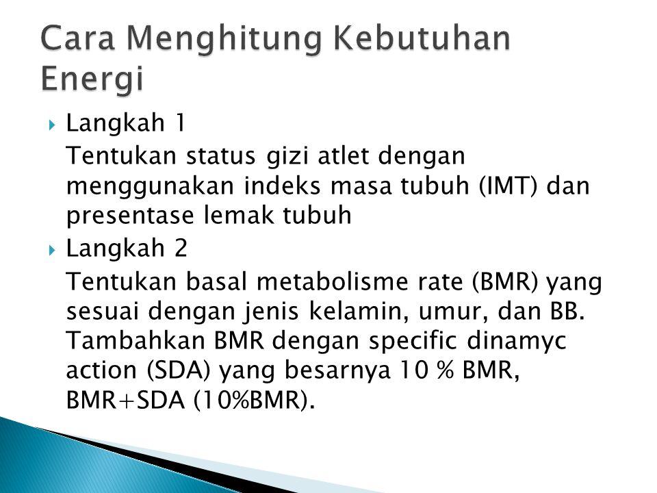  Langkah 1 Tentukan status gizi atlet dengan menggunakan indeks masa tubuh (IMT) dan presentase lemak tubuh  Langkah 2 Tentukan basal metabolisme ra