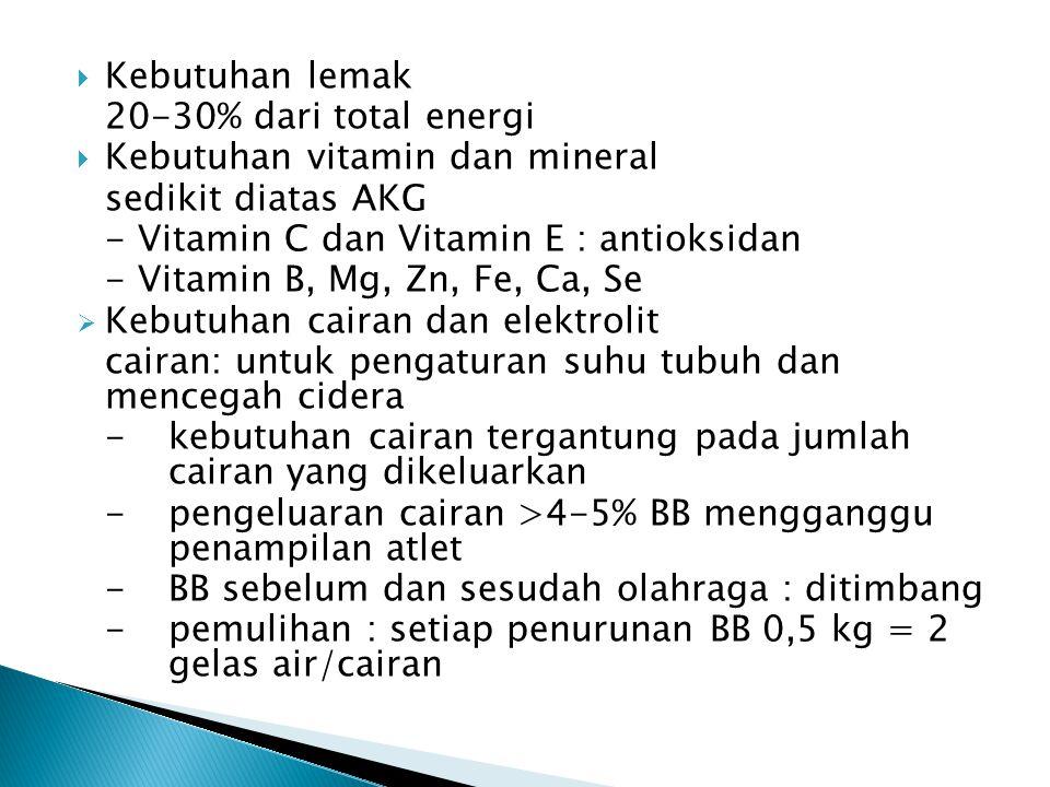  Kebutuhan lemak 20-30% dari total energi  Kebutuhan vitamin dan mineral sedikit diatas AKG - Vitamin C dan Vitamin E : antioksidan - Vitamin B, Mg,