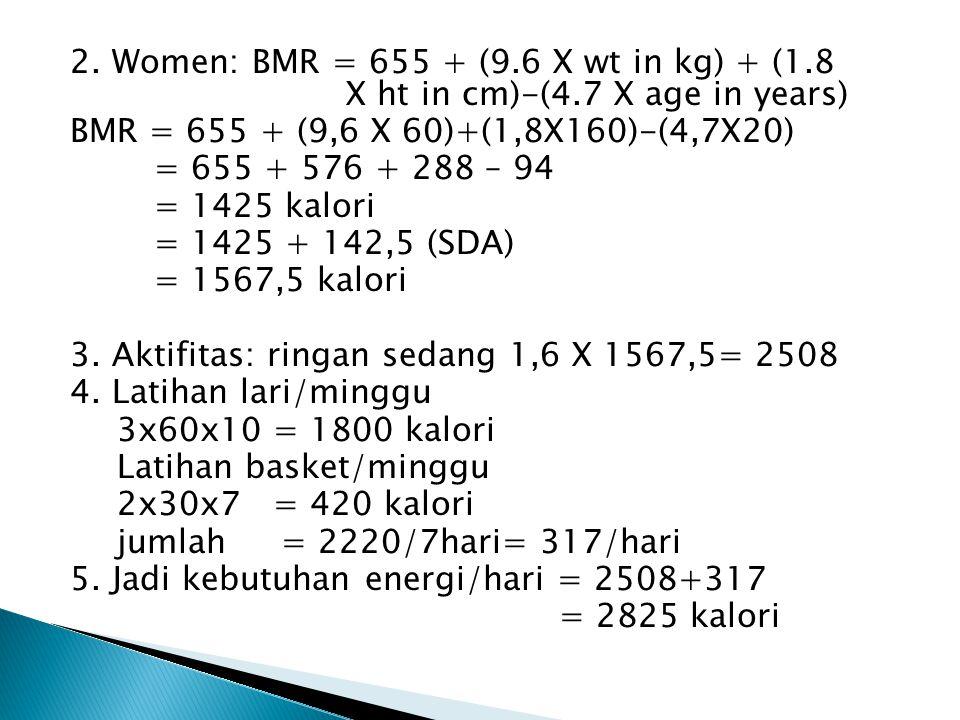2. Women: BMR = 655 + (9.6 X wt in kg) + (1.8 X ht in cm)-(4.7 X age in years) BMR = 655 + (9,6 X 60)+(1,8X160)-(4,7X20) = 655 + 576 + 288 – 94 = 1425