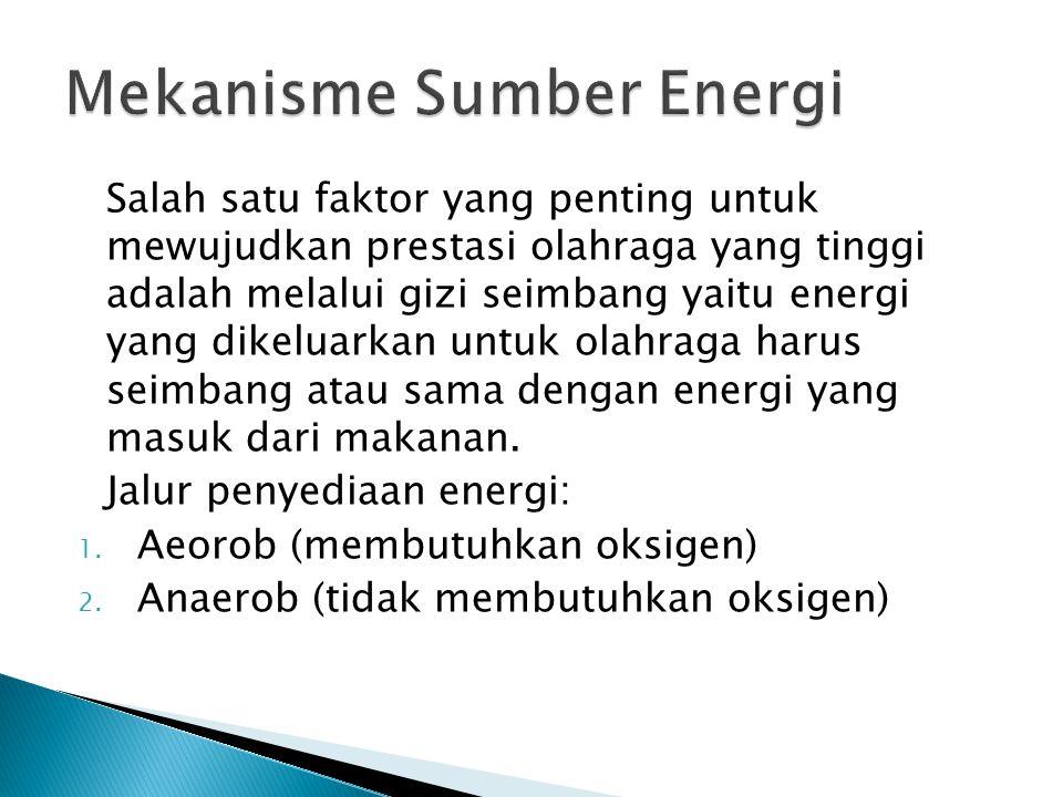 Salah satu faktor yang penting untuk mewujudkan prestasi olahraga yang tinggi adalah melalui gizi seimbang yaitu energi yang dikeluarkan untuk olahrag
