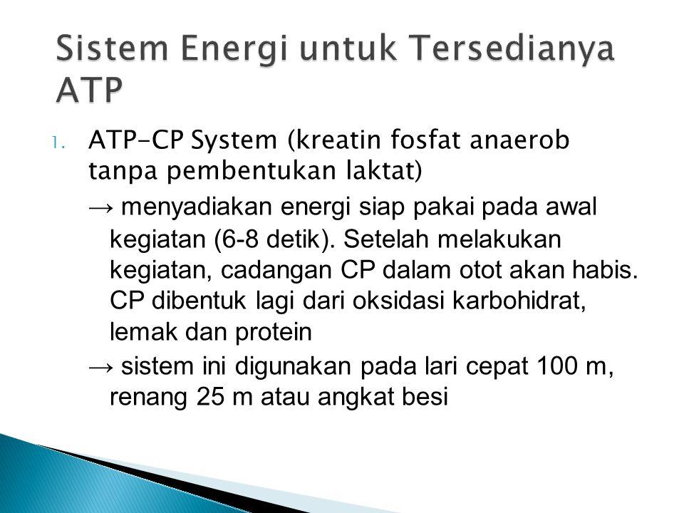 1. ATP-CP System (kreatin fosfat anaerob tanpa pembentukan laktat) → menyadiakan energi siap pakai pada awal kegiatan (6-8 detik). Setelah melakukan k