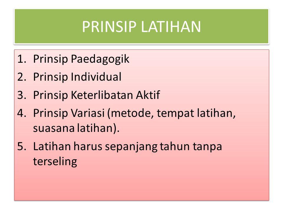 PRINSIP LATIHAN 1.Prinsip Paedagogik 2.Prinsip Individual 3.Prinsip Keterlibatan Aktif 4.Prinsip Variasi (metode, tempat latihan, suasana latihan).