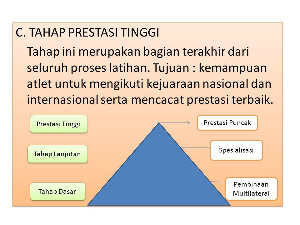 C.TAHAP PRESTASI TINGGI Tahap ini merupakan bagian terakhir dari seluruh proses latihan.