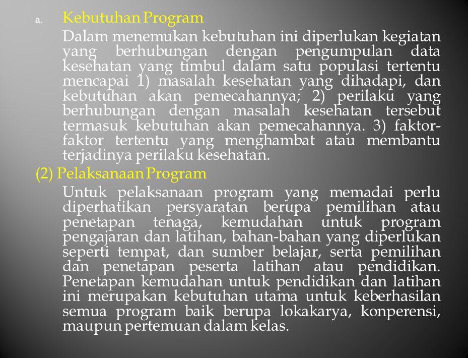 a. Kebutuhan Program Dalam menemukan kebutuhan ini diperlukan kegiatan yang berhubungan dengan pengumpulan data kesehatan yang timbul dalam satu popul
