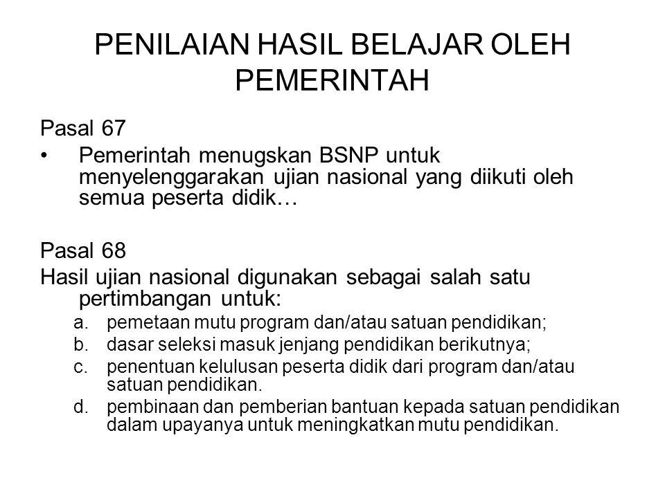 PENILAIAN HASIL BELAJAR OLEH PEMERINTAH Pasal 67 Pemerintah menugskan BSNP untuk menyelenggarakan ujian nasional yang diikuti oleh semua peserta didik