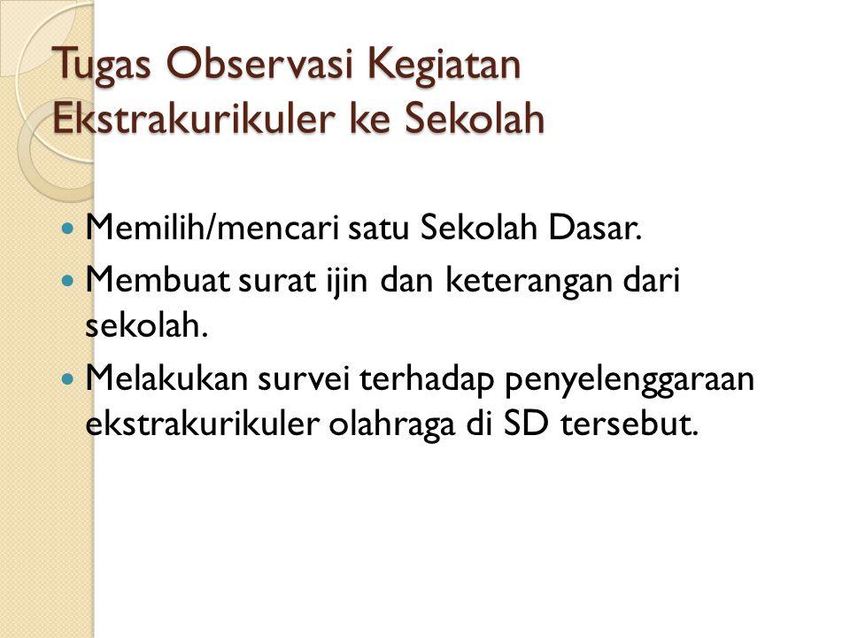 Tugas Observasi Kegiatan Ekstrakurikuler ke Sekolah Memilih/mencari satu Sekolah Dasar.