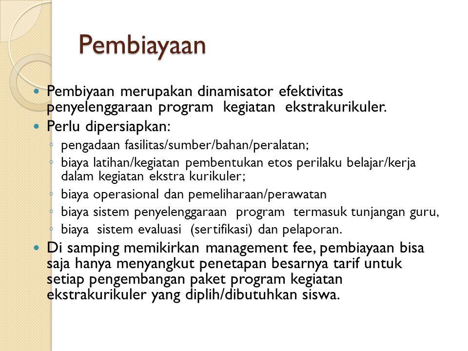 Pembiayaan Pembiyaan merupakan dinamisator efektivitas penyelenggaraan program kegiatan ekstrakurikuler.