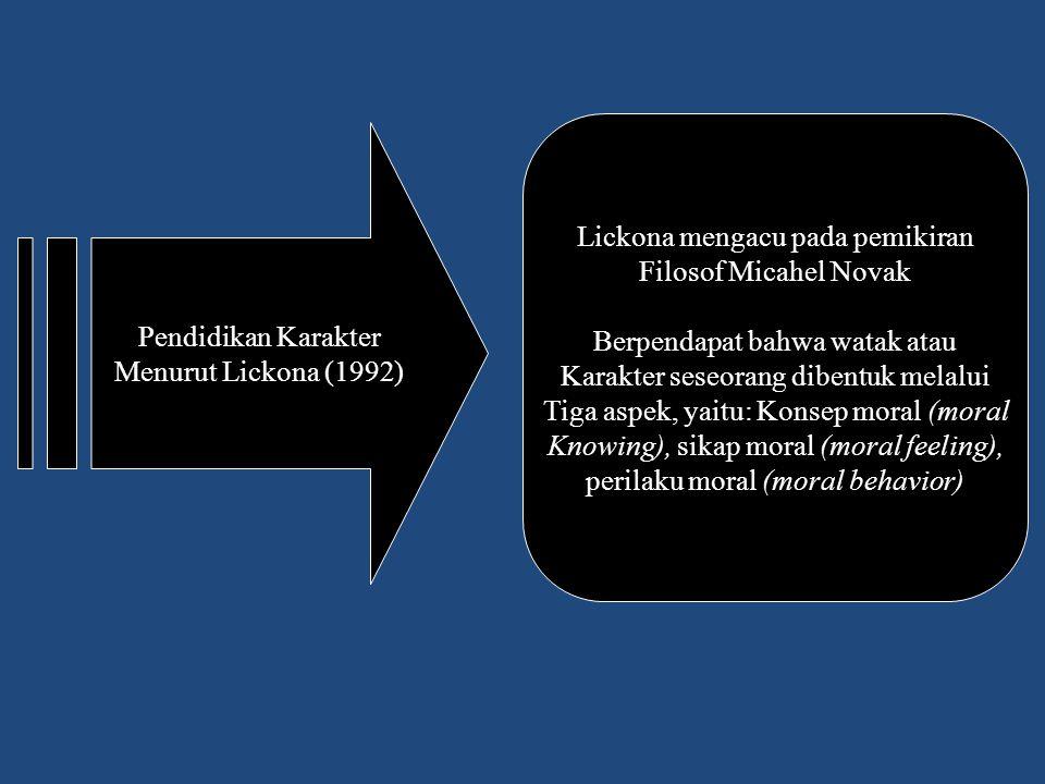 Pendidikan Karakter Menurut Lickona (1992) Lickona mengacu pada pemikiran Filosof Micahel Novak Berpendapat bahwa watak atau Karakter seseorang dibent