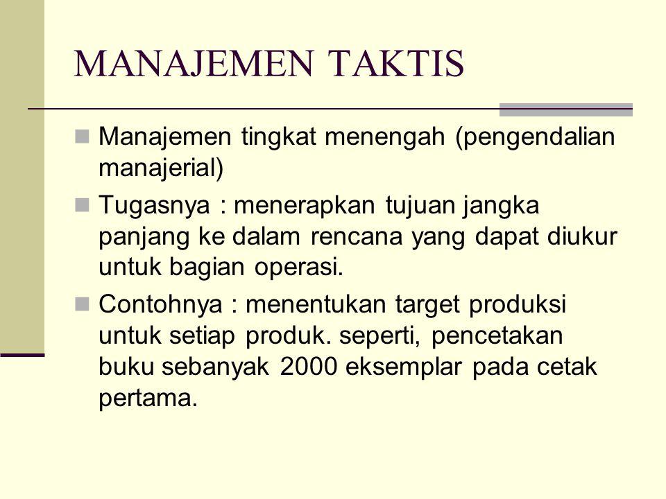 MANAJEMEN TAKTIS Manajemen tingkat menengah (pengendalian manajerial) Tugasnya : menerapkan tujuan jangka panjang ke dalam rencana yang dapat diukur u