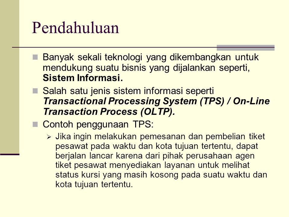 Pendahuluan Banyak sekali teknologi yang dikembangkan untuk mendukung suatu bisnis yang dijalankan seperti, Sistem Informasi. Salah satu jenis sistem