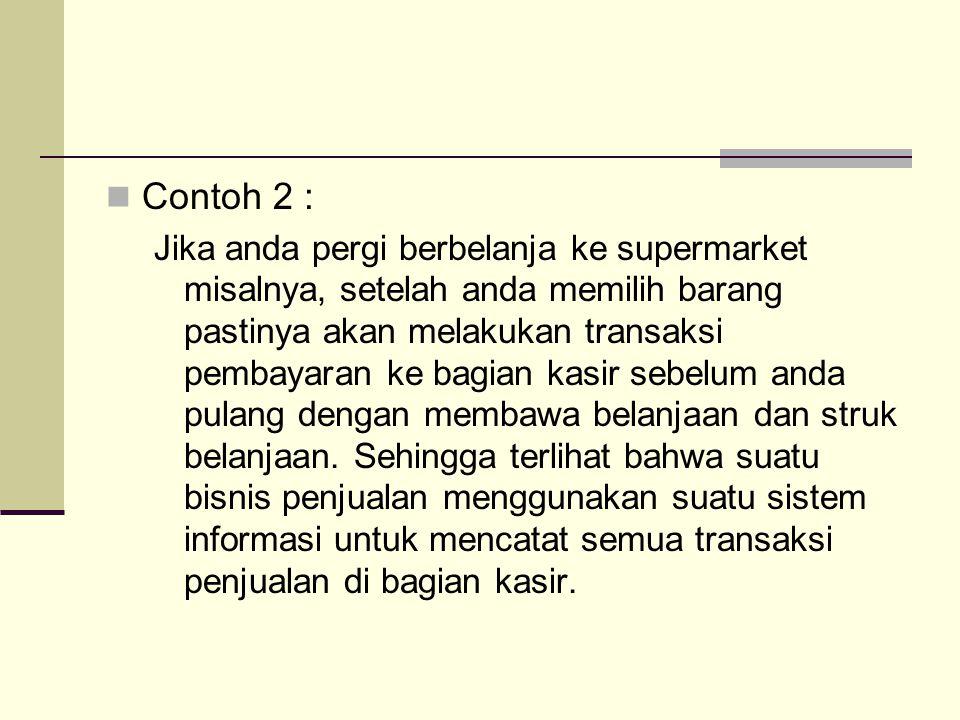 Contoh 2 : Jika anda pergi berbelanja ke supermarket misalnya, setelah anda memilih barang pastinya akan melakukan transaksi pembayaran ke bagian kasi