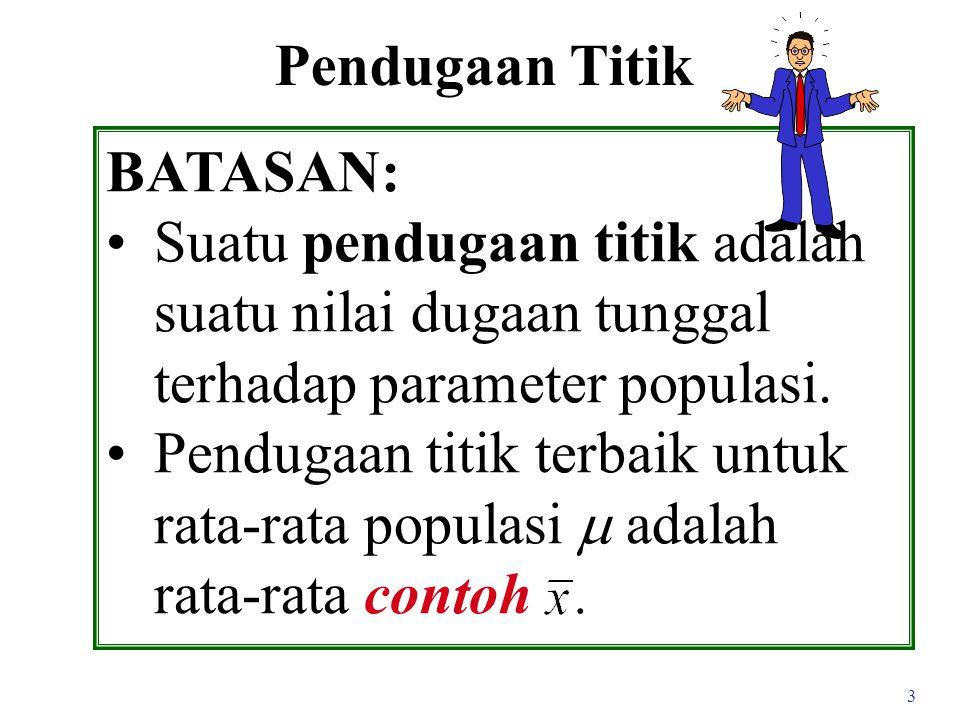3 Pendugaan Titik BATASAN: Suatu pendugaan titik adalah suatu nilai dugaan tunggal terhadap parameter populasi.