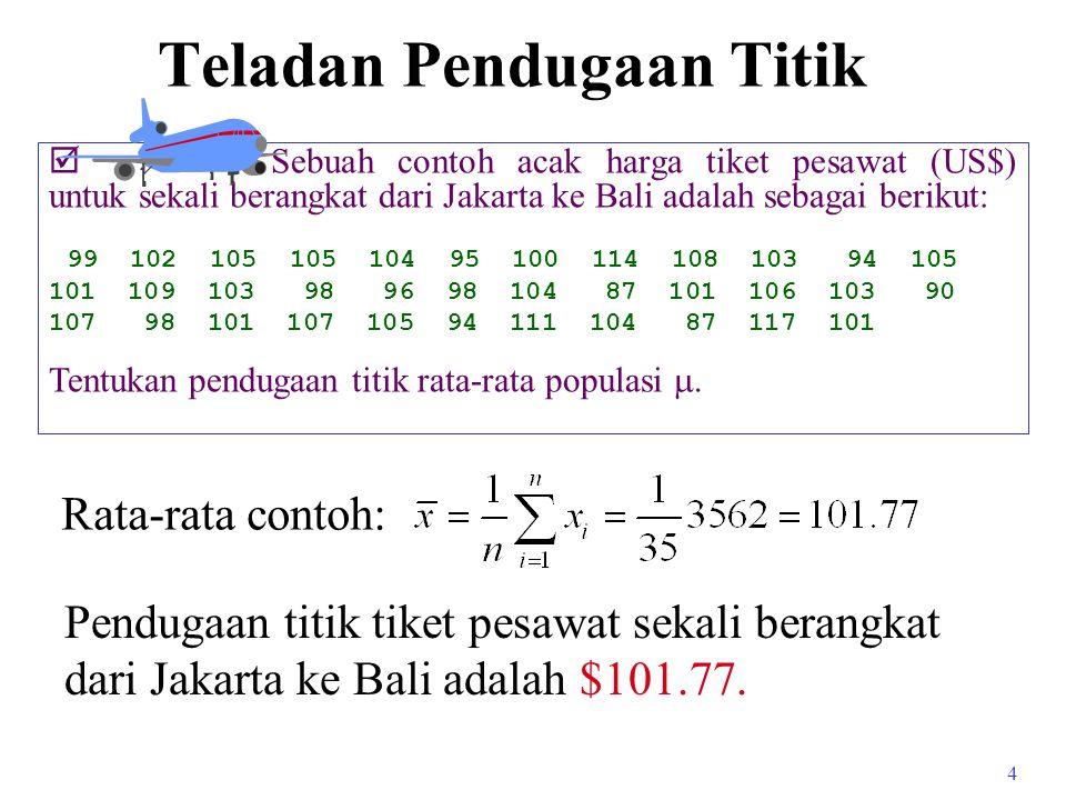 4 Teladan Pendugaan Titik  Sebuah contoh acak harga tiket pesawat (US$) untuk sekali berangkat dari Jakarta ke Bali adalah sebagai berikut: 99 102 105 105 104 95 100 114 108 103 94 105 101 109 103 98 96 98 104 87 101 106 103 90 107 98 101 107 105 94 111 104 87 117 101 Tentukan pendugaan titik rata-rata populasi .