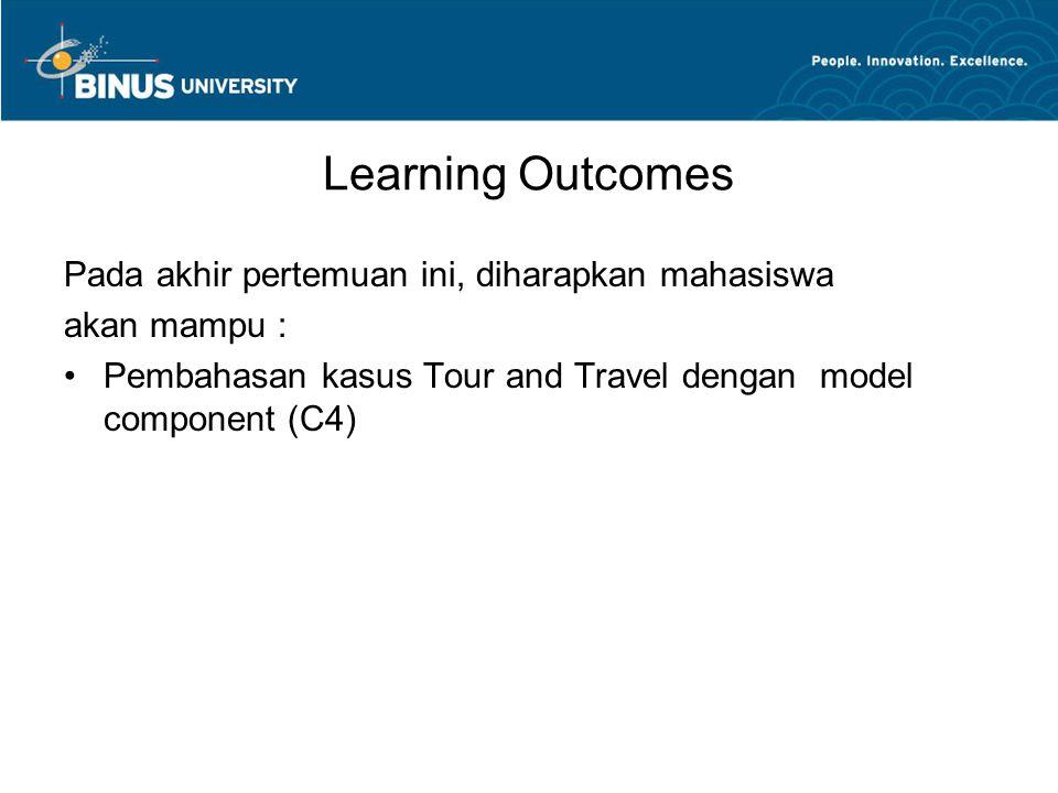 Learning Outcomes Pada akhir pertemuan ini, diharapkan mahasiswa akan mampu : Pembahasan kasus Tour and Travel dengan model component (C4)