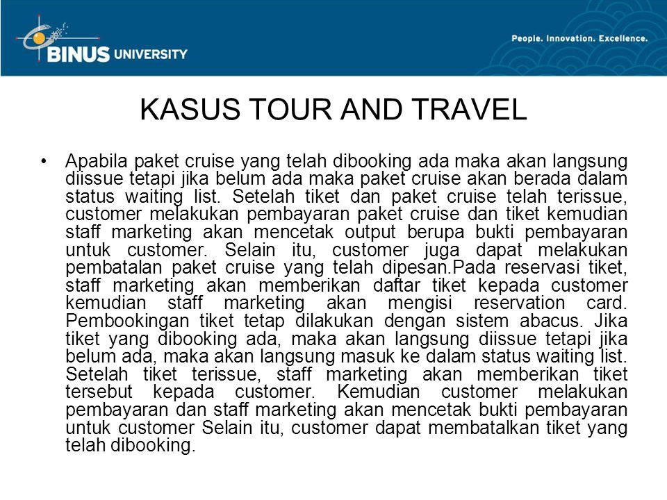 KASUS TOUR AND TRAVEL Apabila paket cruise yang telah dibooking ada maka akan langsung diissue tetapi jika belum ada maka paket cruise akan berada dalam status waiting list.