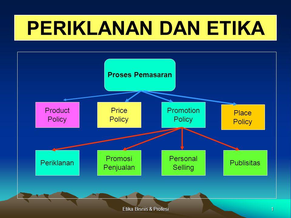 1Etika Bisnis & Profesi PERIKLANAN DAN ETIKA Proses Pemasaran Product Policy Price Policy Promotion Policy Place Policy Publisitas Personal Selling Pr